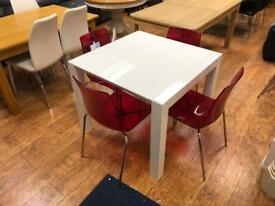White hi gloss dining table & 4 red chairs