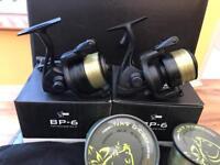 2 Nash bp6 fishing reels and line.