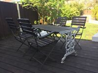 Vintage Cast Iron Garden Table and 4 Chairs