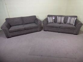 QUALITY EX DISPLAY 'DEVLIN' PAIR OF 3 SEATER FABRIC SOFAS IN NUTMEG (LIGHT BROWN) SETTEES/SUITE