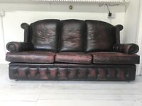 Vintage leather button trim 3 seater sofa chesterfield style