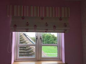 Girls Harlequin blinds, pelmets & matching cushions