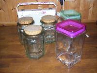 Five x kitchen glass storage jars