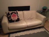 White leather habitat 3 seat sofa