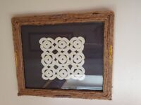 Handmade Framed Doily Picture Jute Wrapped