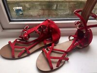 AUTHENTIC chanel red flat sandals size 40