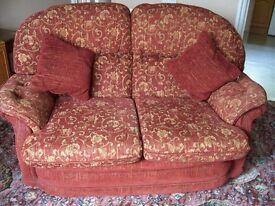 Two seater sofa / settee orange colour