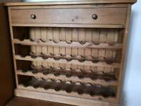 Solid Oak 32 Bottle Wine Rack and Drawer Immaculate