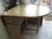 SOLID OAK BUTTERFLY FOLDAWAY DINING TABLE AND 4 CHAIRS DEBENHAMS