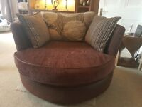 Fabric swivel chair & leather sofa