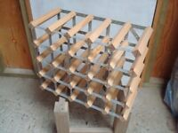 Wood and metal 20 bottle wine rack