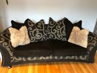 Black & grey 3 & 2 seater sofa