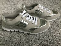 Ladies brand new Silver/Grey Guess trainer shoe