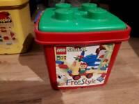 Lego Box and Mixed Lego Bricks