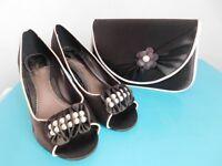 phase eight chocolate court shoe with matching handbag