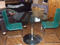 DINNIG TABLE AND / CHAIRS GLASS TOP ON SINGLE PEDESTAL TOP QUALITY FREE EDINBURGH DELIVERY