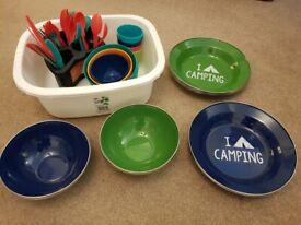 Camping plates, bowls & cutlery set