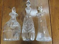 3 Cut Glass Wine Decanters