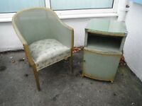 Vintage 1940's Lloyd Loom - Bedside Cabinet & Matching Chair. * Reduced to £16* Shabby Chic/Antique.