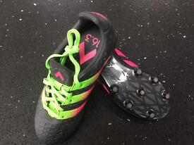 Size 1 Adidas Ace 16.3 FG/AG - Core Black / Shock Pink / Solar Green