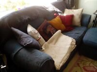 Meatal action sofa bed and 3 seater settee