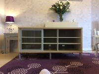 Large TV Cabinet beech and glass Free, pick up only thanks