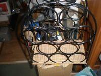 Wine rack metal with basket weave bottom 10 bottles holder