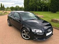 2011/61 BLACK AUDI A3 SPECIAL BLACK EDITION S LINE 2.0 TDI 170 BHP STOP/START MODEL 29K LOW MILES