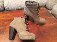 @JUST FAB WEDGE ANKLE BOOTS SIZE (A SMALL) 7, WORN ONCE@