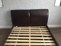 Brown Leather King Size Bed