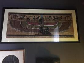 3 lovely framed vintage Egyptian papyrus paintings