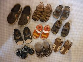 Sandals and crocs for various ages