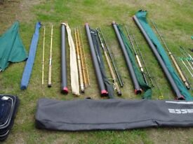 THREE COARSE FISHING RODS, TWO CARBON FIBRE, ONE GLASS FIBRE. LARGE ROD BAG to HOLD FOUR RODS