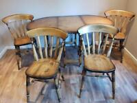 Solid Wood Extending Table With 4 Chairs.