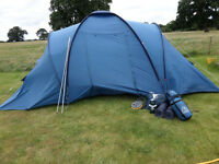Eurohike 4 man tent and extras. 2 sleeping pods and central living area.