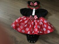 Disney store Baby Minnie Mouse outfit with headband and attached vest