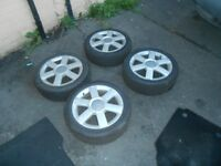 AUDI A2 16 INCH ALLOY WHEELS AND TYRES 8Z0601025H 195 50 16