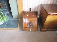 Edwardian or Arts and Crafts, Coal Scuttle, Purdonium With Brass Adornments