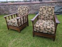 SUPERB PAIR ANTIQUE VINTAGE OAK ADJUSTABLE RECLINING ARMCHAIRS DAYBED ARTS & CRAFTS 1920'S