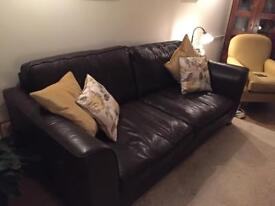 M&S large dark brown leather sofa