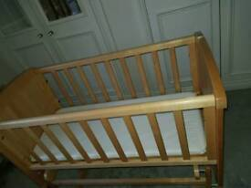 MOTHERCARE SWINGING CRIB AND BOYS SHELVES/STORE