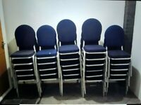 27 blue and silver well-padded stacking meeting conference chairs central London bargain