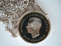 1951 George VI Five Shilling Coin enamelled dark blue and set in sterling silver scroll top pendant