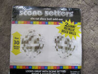 Pair of Large Silver Disco Balls Scene Setters/Wall decorations- £3