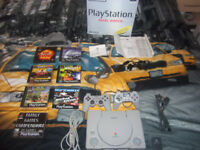 boxed ps1 with wires and games swap for wyh