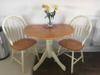 Farm-house/country style dining table with two chairs