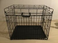Black Dog Crate for Small Dog. 60cmx50cmx44cm. Two Door
