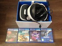 PS4 VR headset + 2 controllers, 4 games and camera
