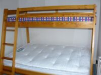 Wooden Bunk Beds (small double bottom with single on top)