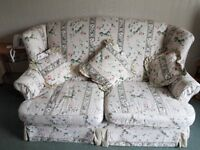 2 seater floral sofa and chair